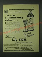 1960 Domecq La Ina Sherry Ad - For the discriminating palate…