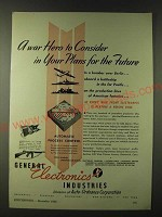 1943 General Electronics Industries Ad - A war hero to consider in your plans