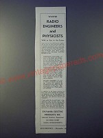 1943 Sylvania Electric Products Ad - Wanted radio engineers and physicists