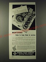 1943 General Radio Company Ad - Maintenance helps to keep them in service