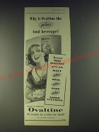 1958 Ovaltine Drink Ad - Why is Ovaltine the plus food beverage?
