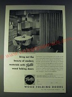 1958 Pella Wood Folding Doors Ad - Bring out the beauty of modern materials