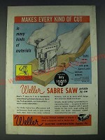 1958 Weller Sabre Saw Portable Jig Saw Ad - Makes Every kind of cut