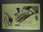 1958 Smiths F.639 and A.358 Watches Ad - Peter Scott - Famous hands