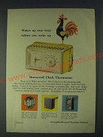 1958 Honeywell Clock Thermostat Ad - Wakes up your heat before you wake up