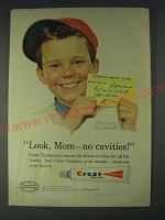 1958 Crest Toothpaste Ad - art by Norman Rockwell - Look, Mom - no cavities