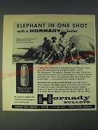 1958 Hornady Full Metal Jacket Bullets Ad - Elephant in one shot
