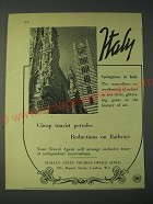 1958 Italy Tourism Ad - Cheap tourist petrol - Reductions on Railways