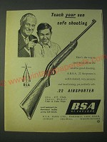 1958 BSA .22 Airsporter Rifle Ad - Teach your son safe shooting