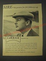 1958 Carrick Sire Cap Ad - Sire - the genuine fur felt foldaway cap