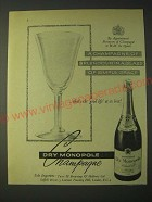 1958 Dry Monopole Champagne Ad - A Champagne of splendour in a glass of grace