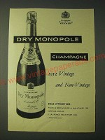 1958 Dry Monopole Champagne Ad - 1952 Vintage and Non-Vintage