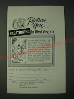 1958 West Virginia Tourism Ad - Picture you… Vacationing in West Virginia