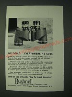 1958 Bushnell Binoculars Ad - Welcome… everywhere he goes