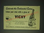 1958 Vichy Water Ad - Cultivate the Continental Custom