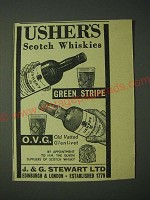 1958 Usher's Green Stripe and O.V.G. Scotch Ad
