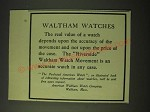 1900 Waltham Watches Ad - The real value of a watch