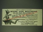 1900 H.J. Putman & Co. Moose Hide Moccasins Ad - Heavy Indian Tanned Moose Hide