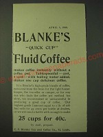 1900 C.F. Blanke's Quick Cup Fluid Coffee Ad