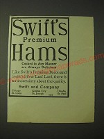 1900 Swift's Premium Hams Ad - Cooked in any manner are Delicious