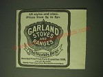 1900 Garland Stoves and Ranges Ad - All styles and sizes