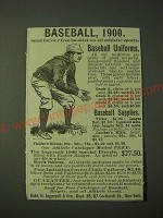 1900 Robt. H. Ingersoll Baseball Uniforms and Supplies Ad