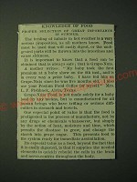 1900 Post Grape-Nuts Cereal Ad - Knowledge of food proper selection