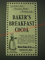 1900 Walter Baker & Co.'s Baker's Breakfast Cocoa Ad - A Perfect Food Preserves