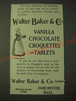 1900 Walter Baker & Co.'s Vanilla Chocolate Croquettes and Tablets Ad