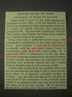 1900 Post Grape-Nuts Cereal Ad - Doctor talks of food