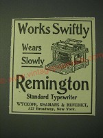 1900 Remington Standard Typewriter Ad - Works Swiftly Wears Slowly