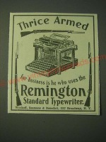 1900 Remington Standard Typewriter Ad - Thrice Armed for business