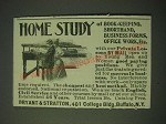 1900 Bryant & Stratton Ad - Home study of book-keeping, shorthand, business