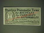 1900 Dunlop Pneumatic Tires Ad - for bicycles for carriages