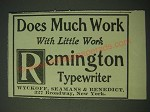 1900 Remington typewriter Ad - Does much work with Little Work Remington