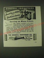 1943 General Industries Small-power motors and Electronic devices Ad - Serving