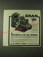 1943 D.W. Onan & Sons Gasoline Driven Electric Generating Plants Ad