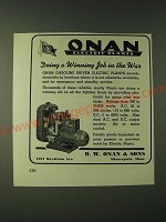 1943 D.W. Onan & Sons Gasoline Driven Electric Generating Plants Ad - The War