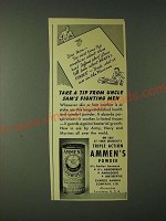 1943 Ammen's Powder Ad - Take a tip from Uncle Sam's fighting men