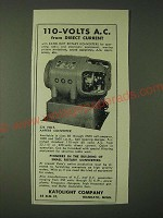 1943 Katolight Company Rotary Konverters Ad - 110-Volts A.C. from direct current