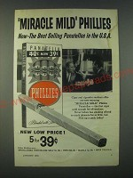 1959 Miracle Mild Phillies Panatellas Cigars Ad