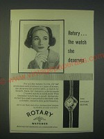 1959 Rotary Gala Watch Ad - the watch she deserves