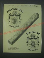 1959 Macanudo and Punch Cigars Ad - Jamaica's and Havana's Best Cigars