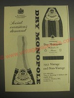 1959 Dry Monopole Champagne Ad - Social Occasions demand Dry Monopole