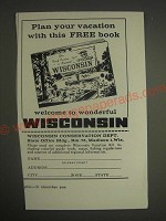 1959 Wisconsin Conservation Dept. Ad - Plan your vacation with this free book