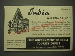 1959 India Tourism Ad - India welcomes you