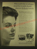 1963 D-Zerta Gelatin Ad - A girl who is unhappy about her weight