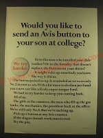 1963 Avis Rent a Car Ad - Send an Avis button to your son at College