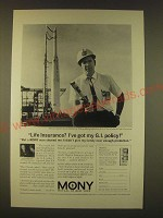 1963 MONY Mutual of New York Ad - Life insurance? I've got my G.I. policy!
