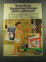 1986 Huggies Diapers Ad - Extra! Extra! Huggies hug with new elastic waistbands
